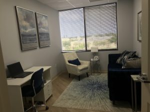 Counseling office, comfy chairs | Saint Petersburg Office | Wellness Psychological | Therapy Services